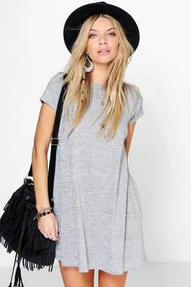 boohoo Short Sleeve Knitted Swing Dress