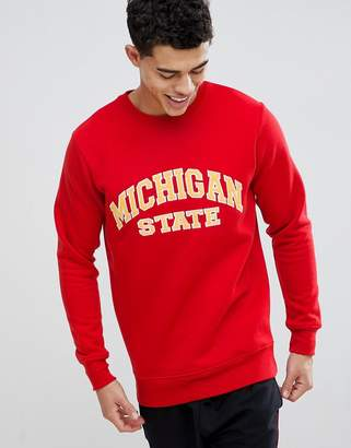 boohooMAN Sweat With Michigan Applique In Red