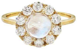 Lori McLean Lofted Moonstone and Diamond Cluster Ring