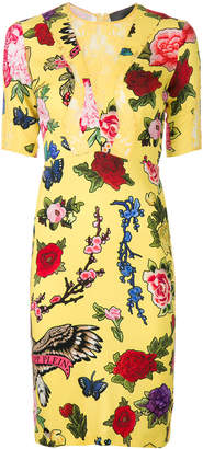 Philipp Plein floral fitted dress