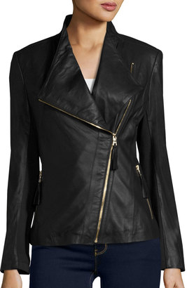 Via Spiga Asymmetric Zip-Front Leather Jacket, Black $295 thestylecure.com