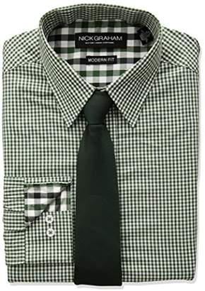 Nick Graham Men's Long Mini Gingham Check Dress Shirt with Solid Tie Set