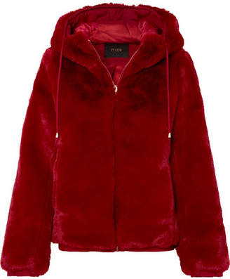 Maje Hooded Faux Fur Jacket - Red