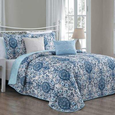 Avondale Manor Trista Reversible King Quilt Set in Blue
