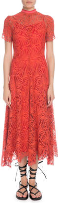 Proenza Schouler Mock-Neck Short-Sleeve A-Line Lace-Guipure Long Dress