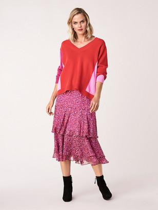 Diane von Furstenberg Meg Silk Chiffon Tiered Midi Skirt