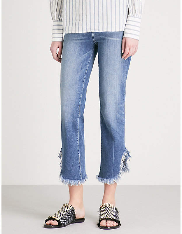Jacqueline frayed-hem straight high-rise jeans