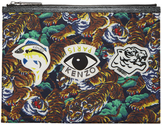 Kenzo Multicolor Flying Tiger & Eye Multi Icons Pouch $160 thestylecure.com