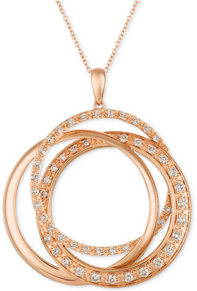 "LeVian Le Vian Strawberry & Nude Diamond Interlocking Rings 18"" Pendant Necklace (1 ct. t.w.) in 14k Rose Gold"
