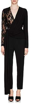 Givenchy Women's Lace-Sleeve Crepe Jumpsuit - Black
