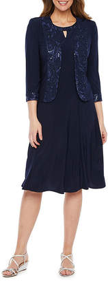 MAYA BROOKE Maya Brooke 3/4 Sleeve Embellished Jacket Dress