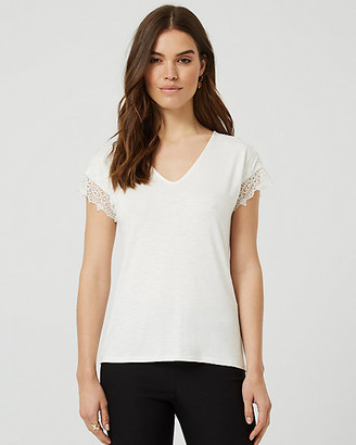 Le Château Lace & Knit V-Neck T-Shirt