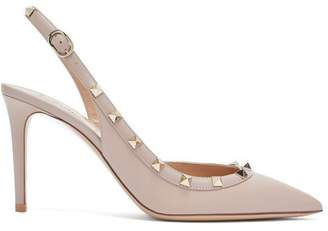 Valentino Rockstud Slingback Leather Pumps - Womens - Nude