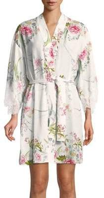 Floral-Print Lace Robe