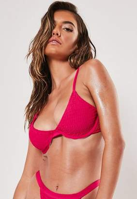Missguided Pink Crinkle Underwire U Bikini Top