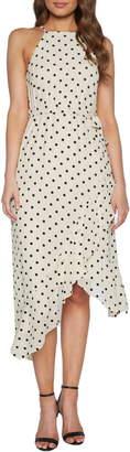 Bardot Viviana Spot Asymmetrical Midi Dress