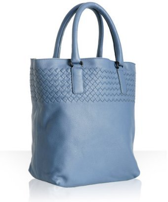 Bottega Veneta light blue deerskin woven medium tote