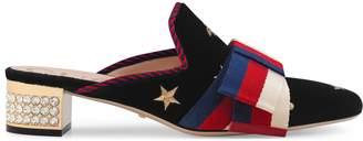 Gucci Embroidered velvet slide with Sylvie bow