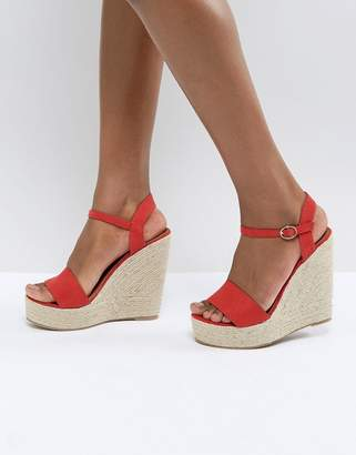 Glamorous Red Espadrille Wedge Sandals