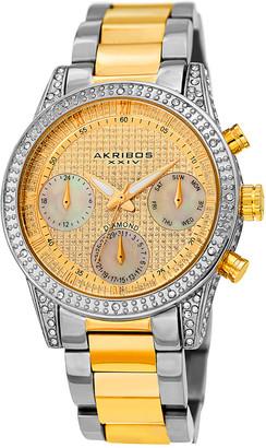 Akribos XXIV Women's Multifunction Pave Dial Diamond Accented Bezel Watch