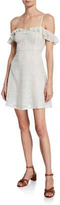 Astr Kristin Sweetheart Cold-Shoulder Eyelet Lace Dress