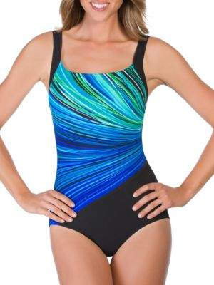 Reebok Sleeveless Striped One Piece Swimsuit