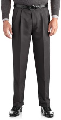 George Big Men's Pleated Cuffed Microfiber Dress Pant With Adjustable Waistband