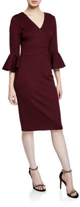 Trina Turk Begonia V-Neck Trumpet-Sleeve Ponte Dress