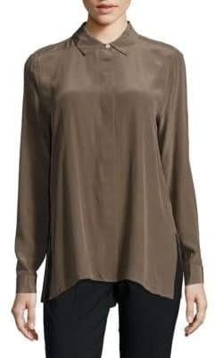 Leo & Sage Pleated Hi-Lo Blouse