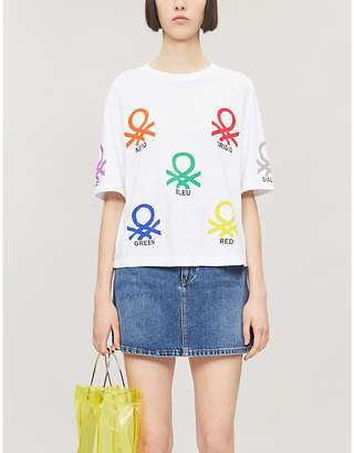 Benetton Graphic-print round-neck cotton T-shirt