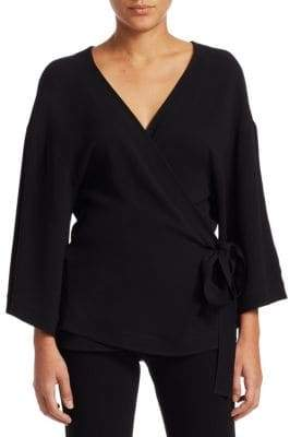 Theory Elevated Wrap Rosina Crepe Top