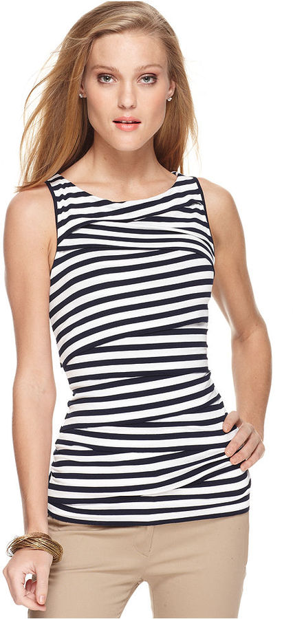 Vince Camuto Top, Sleeveless Scoop Neck Striped Pleated Tiered Tank