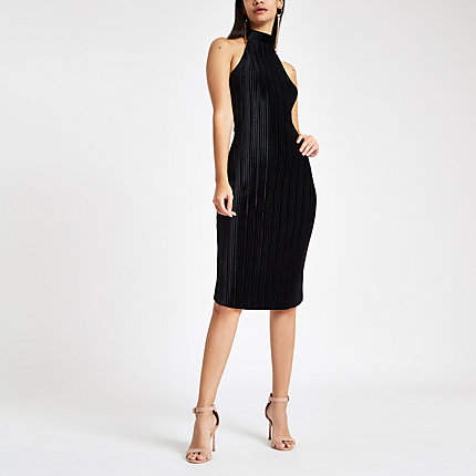 Womens Black plisse halter neck bodycon midi dress