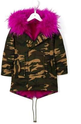 Liska fox fur collar printed parka