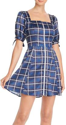 Aqua Zip-Front Plaid Dress - 100% Exclusive