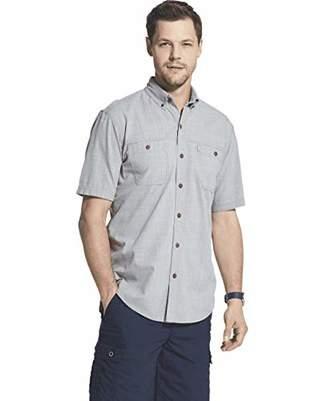 G.H. Bass & Co. Men's Crosshatch Short Sleeve Button Down Solid Shirt