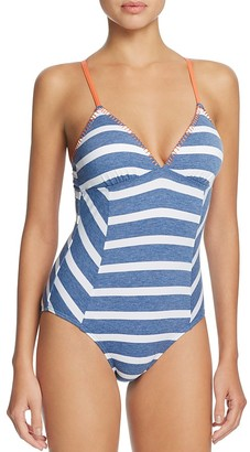 Splendid Chambray Cottage Stripe One Piece Swimsuit $108 thestylecure.com