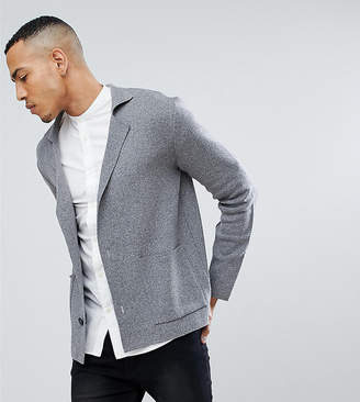 Asos Tall Knitted Blazer In Grey