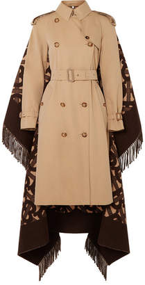 Burberry Fringed Merino Wool And Cashmere-blend Jacquard And Cotton-gabardine Trench Coat - Beige
