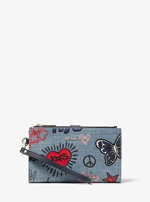 Michael Kors Adele Embroidered Denim Smartphone Wallet