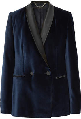 Stella McCartney Satin-trimmed Velvet Tuxedo Blazer - Midnight blue