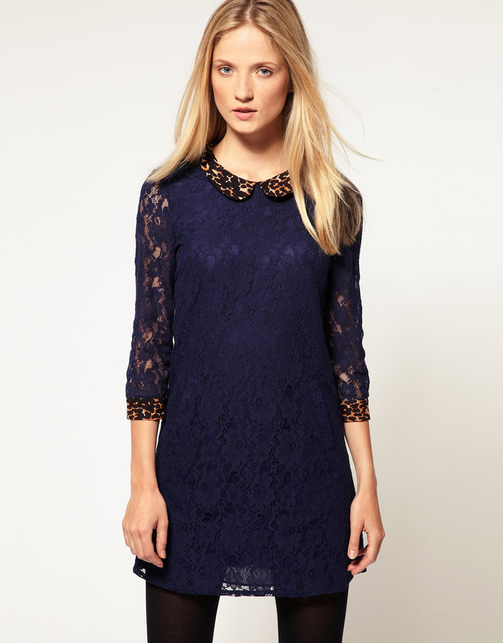 Whistles Leopard Collar Lace Shift Dress