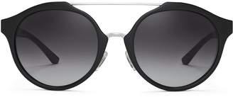 Tory Burch Double-Bridge Round Sunglasses