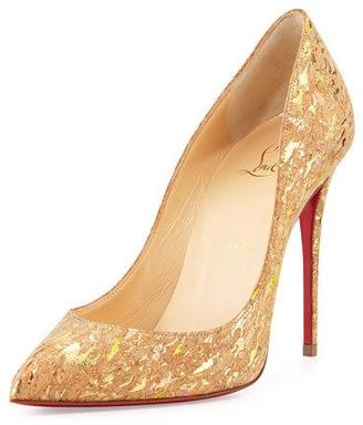 Christian Louboutin Pigalle Follies Cork 100mm Red Sole Pump $695 thestylecure.com