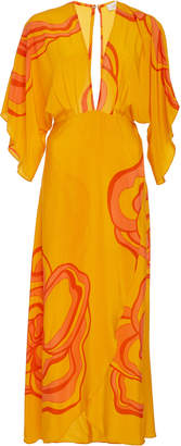 Jaline Kelly Open-Back Printed Silk Maxi Dress