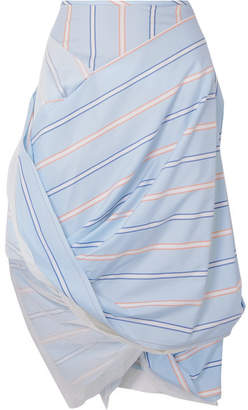 Vivienne Westwood Draped Striped Cotton And Tulle Skirt - Blue