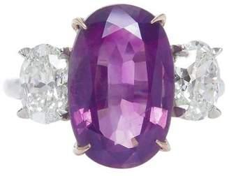 Platinum 5.50ct. Pink Sapphire and Diamond Engagement Wedding Ring