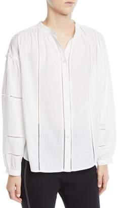 Derek Lam 10 Crosby Long-Sleeve Button-Front Cotton Blouse w/ Lace Insets