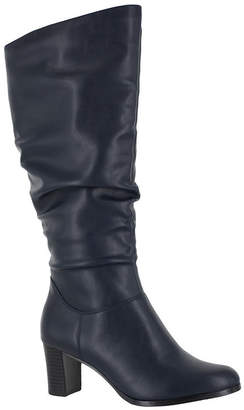Easy Street Shoes Womens Tessla Slouch Boots Stacked Heel Zip