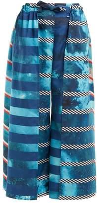 Issey Miyake Spectrum Printed Wide Leg Trousers - Womens - Blue Multi